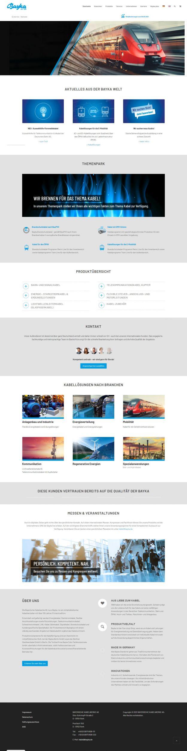 Webseiten-Relaunch der Bayerischen Kabelwerke