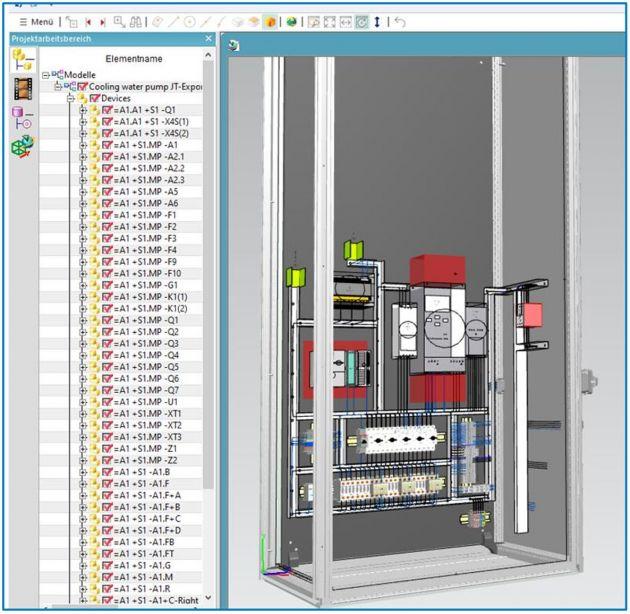 Bild 2 | Die Einführung des JT-Formats ermöglicht den Export einer umfassenden grafischen Darstellung von Schaltschrankaufbauten einschließlich aller verwendeten Betriebsmittel, Tragschienen, Kabelkanäle und Drähte.