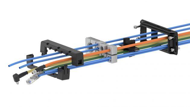 Bild 1   Explosionsgrafik des Systems mit Rahmen, Dichtelementen und Kabeln.