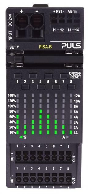 Bild 2   Eine übersichtliche LED-Matrix zeigt die Auslastung der einzelnen Kanäle.