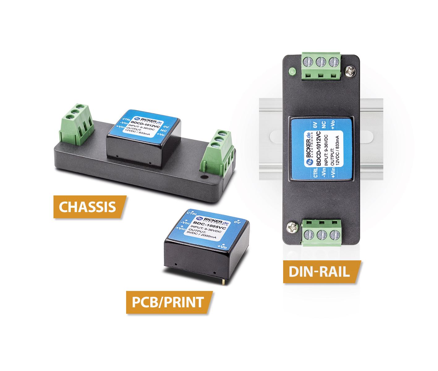4:1-DC/DC-Wandler für die flexible  Print-, Chassis- oder DIN-Rail-Montage