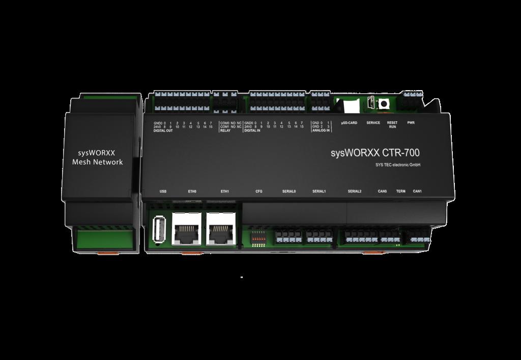 Neben zahlreichen Schnittstellen wie industriellen Ein- und Ausgängen, TCP/IP, MQTT, Modbus, CANopen, USB, µSD enthält die Steuerung zwei Ethernet-Schnittstellen. Damit wird die Trennung von Enterprise IT und Shop Floor OT gewährleistet. (Bild: Sys Tec Electronic GmbH)