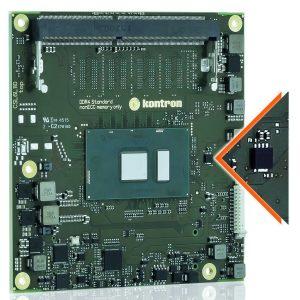 Als weltweit erster Anbieter von Embedded-Computing- und IoT-Technologie bietet Kontron voll integrierte Schutzmechanismen in seinen Computer-on-Modulen (COM) und Motherboards an. Die kombinierte Hardware- und Software-Lösung Kontron Approtect verfügt über ein integriertes Hardware-Security-Modul und ein Software Framework, das umfassende Sicherheits- und Lizenzfunktionalitäten in sich vereint. Kontron Approtect ist powered by Wibu, der Chip von Wibu-Systems ist in dem vergrößert dargestellt. (Bild: Kontron S&T AG)