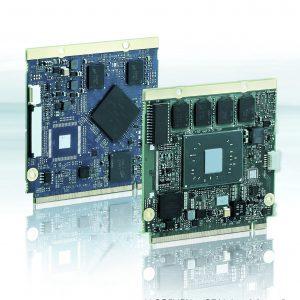 Das  Qseven-Q7AL ist je nach Anforderung mit Intel Atom (R), Pentium oder Celeron Prozessor lieferbar, das Modul Qseven-Q7AMX7 nutzt den Cortex-A7-Prozessor. Beide Module unterstützen die Qseven-2.1-Spezifikationen. (Bild: Kontron Europe GmbH)