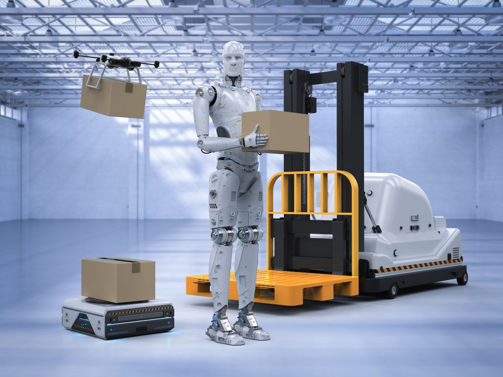 3d rendering automatic forklift with warehouse robot and drone in factory (Bild: ©phonlamaiphoto/Fotolia.com)