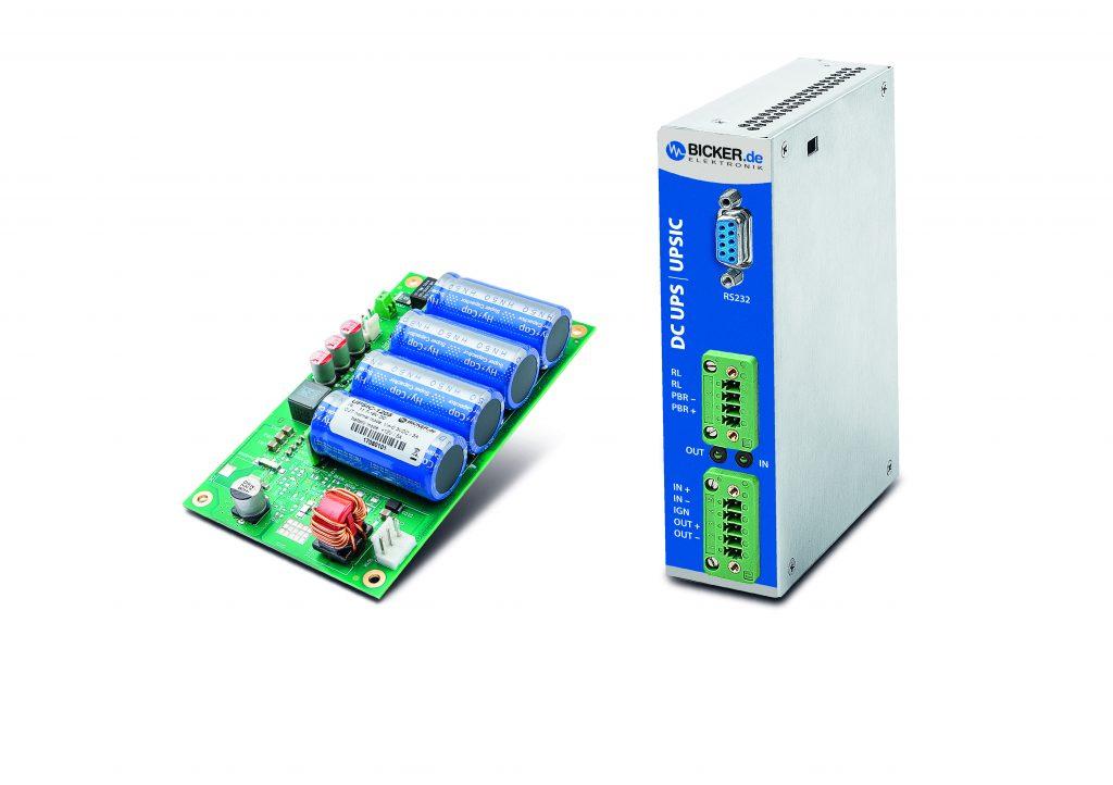Die Supercap-DC-USV-Module UPSIC (Open-Frame) und UPSIC-D (DIN-Rail) dienen u.a. zur Absicherung von kompakten Embedded-Computern und Robotiksystemen. (Bicker Elektronik GmbH)
