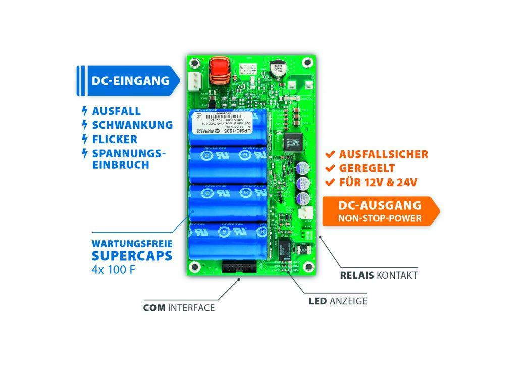 Das Supercap-DC-USV-Modul UPSIC (Oper-Frame) bzw. UPSIC-D (DIN-Rail) dient u.a. zur Absicherung von kompakten Embedded-Computern und Robotiksysteme (Bicker Elektronik GmbH)