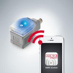 Dank Bluetooth erfolgt die Anzeige von Sollwert, Ausgangsstrom, und Gerätetemperatur in Echtzeit auf dem Handy. (Bild: Hawe Hydraulik SE)