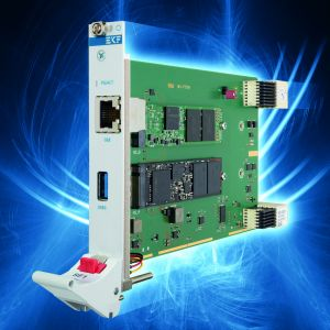 Die Peripheral Slot Karte verfügt über zwei M.2 Sockel für unterschiedliche Speichertypen. Optional stehen an der Front auch Schnittstellen für Gigabit Ethernet und USB3 zur Verfügung. (Bild: EKF Elektronik GmbH)