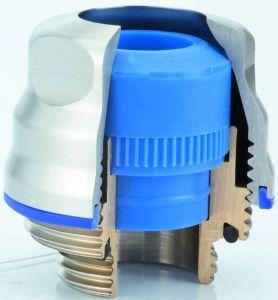 Prägend für die Hygienic-Verschraubung ist das ecken- und kantenfreie Gehäuse, verbunden mit einer geringen Oberflächenrauheit (Ra0,8µm). (Bild: Hummel AG)