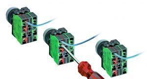 Der direkt von hinten zugängliche Kabelanschluss vereinfacht die Verdrahtung.  Für unterschiedliche Verdrahtungsanforderungen stehen die Schaltelemente mit Schraub-, Steck-, Käfigzugfeder- oder Löt-Anschluss zur Verfügung. (Bild: RAFI GmbH & Co. KG)