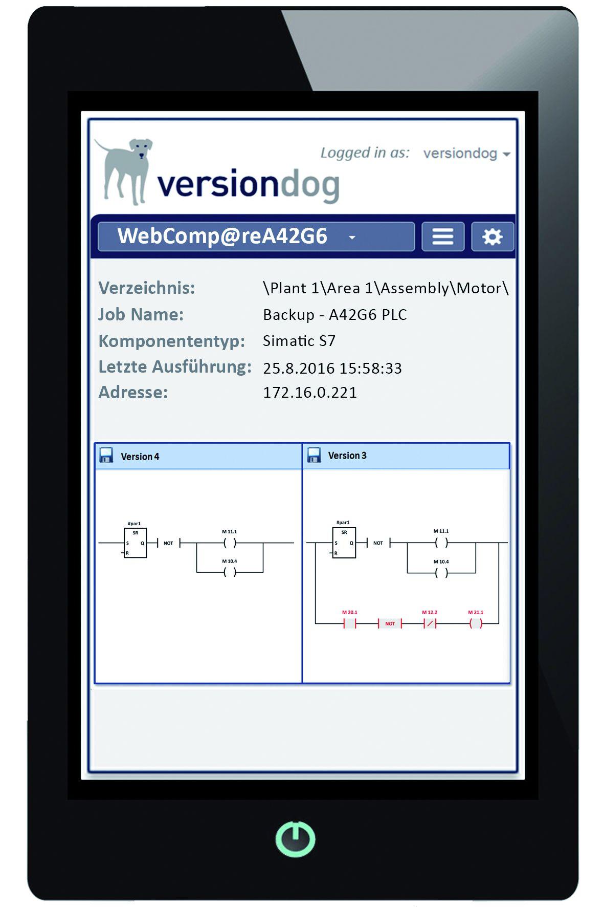 versiondog webcompare neuer l sungsansatz f r detailvergleich auf mobilen endger ten der. Black Bedroom Furniture Sets. Home Design Ideas