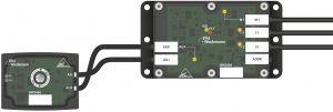 Das Motormodul AS-i 3.0 für den Frequenzumrichter BW3406 eignet sich für den Einsatz im Kabelkanal (re.) mit integriertem Passivverteiler (li.). (Bild: Bihl+Wiedemann GmbH)