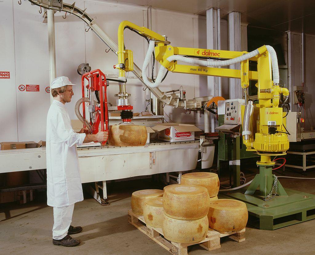 THandhabungsmanipulator mit Saugvorrichtung für Käselaibe (Bild: Dalmec GmbH)