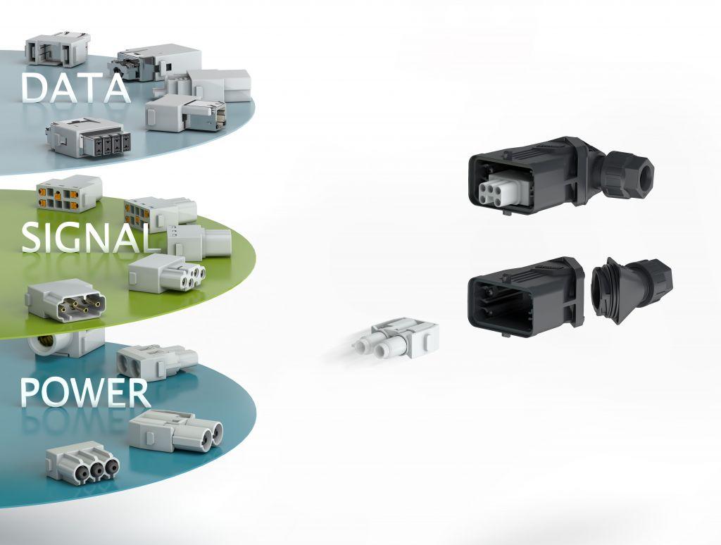 Daten-, Signal- und Leistungsübertragung: Im Baukastensystem werden die Module aus dem Produktprogramm Heavycon complete kombiniert. (Bild: Phoenix Contact Deutschland GmbH)