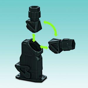 Hohe Flexibilität: Der Bajonett-Verschluss am Steckverbinder ermöglicht eine frei wählbare Kabelabgangsrichtung. (Bild: Phoenix Contact Deutschland GmbH)