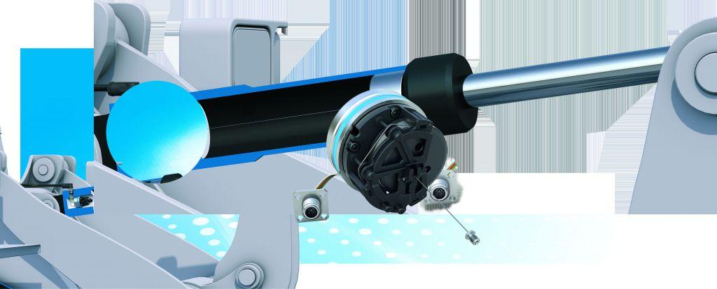 Die SGH-Seilzugsensoren sind voll integrierbar in Hydraulik- oder Teleskopzylinder. Auch ein seitlicher Anbau ist bei konstruktionsbedingten Erfordernissen realisierbar. (Bild: Siko GmbH)