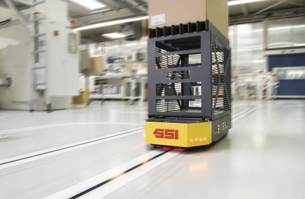 Beim Einsatz in FTS ist u.a. der energiearme Sleep-Modus des Funknetzwerks vorteilhaft. (Bild: SSI Schäfer GmbH)