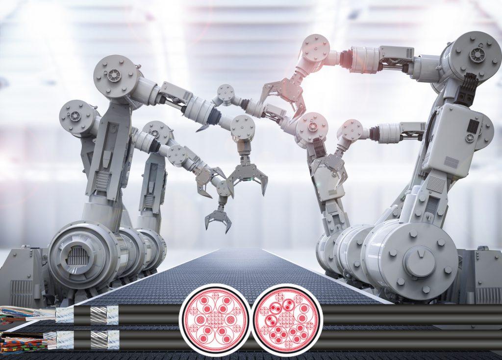 Kinematics-3D (Aufmacher):  agile und torsionsfeste Leitungen für Robotereinsätze (Bild: TKD Kabel GmbH)