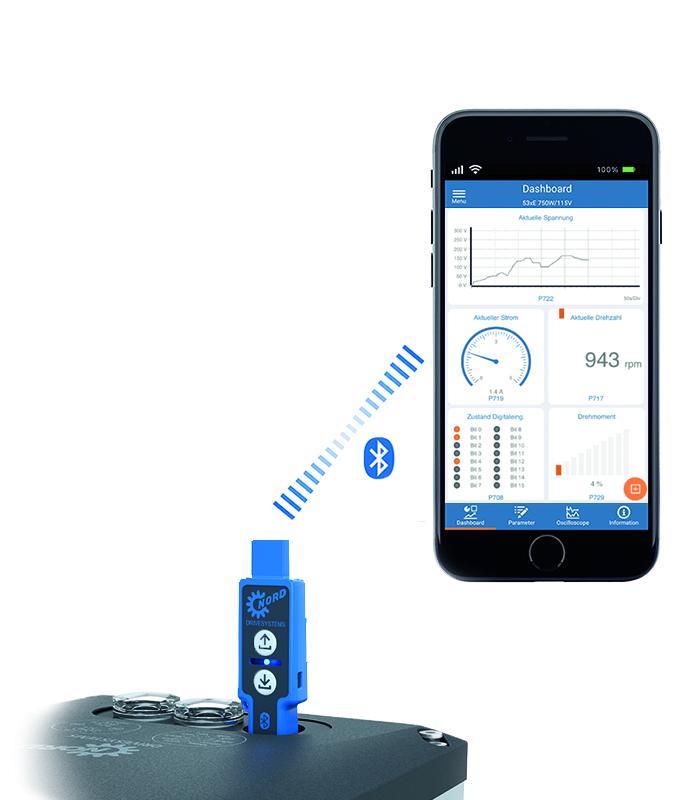 Die NORDCON APP und der NORDAC ACCESS BT bieten eine mobile Inbetriebnahme- und Servicelösung für alle NORD-Antriebe