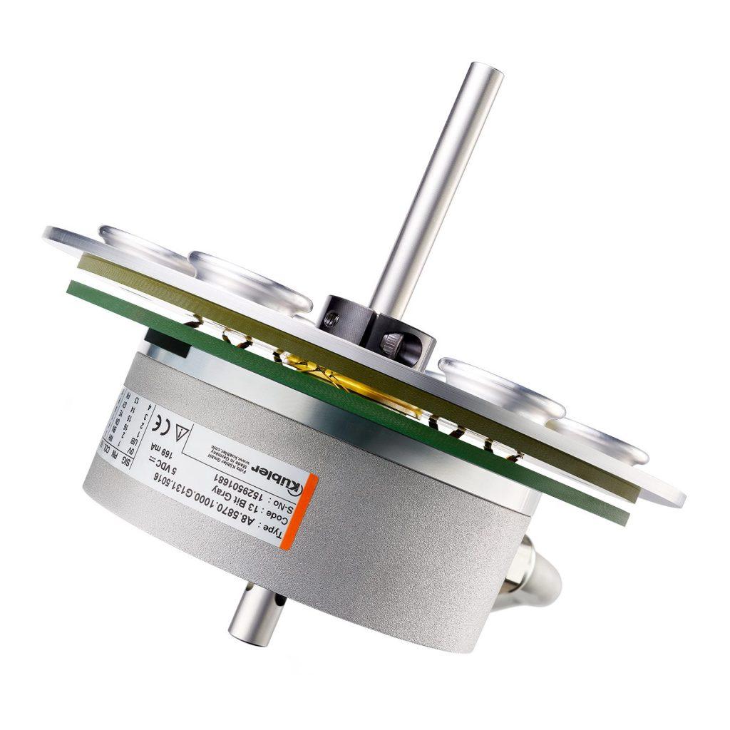 Der Teller-Schleifring ist mit einem  Drehgeber kombinierbar.