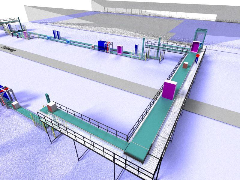 Oben: Eine neue Montagelinie für Küchenmöbel wurde mit Hilfe von taraVRbuilder geplant, präsentiert  und verkauft. Unten: Anlage zur Einlagerung von LKW-Reifen.
