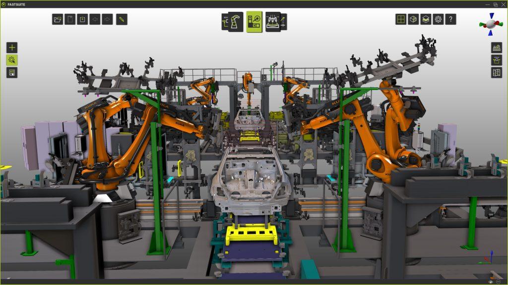 Fertigungsprozesse wie Rollfalzen, Kleben oder Lackieren können von  einer virtuellen Programmier- und Simulationsumgebung profitieren.
