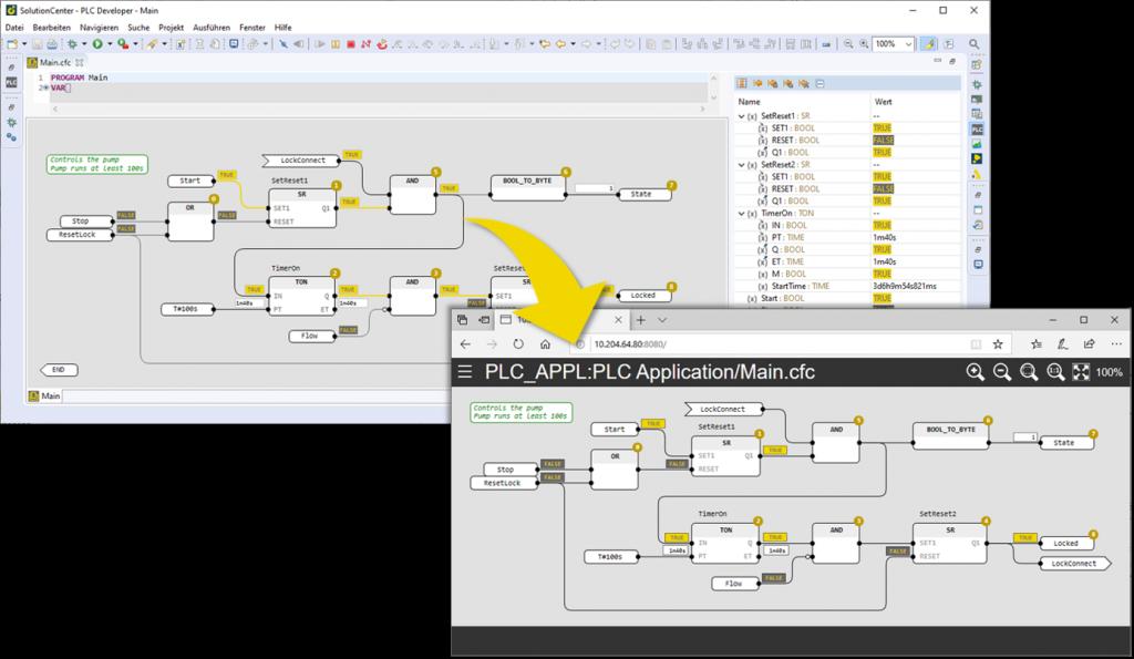 PLC Insight: Zur Überwachung der Applikation kann für ausgewählte Funktionsblockdiagramme eine web-basierte Visualisierung generiert werden, welche nach dem Deploy der Applikation direkt auf der Steuerung verfügbar ist.