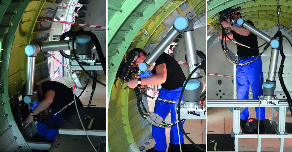 Montage einer Stringer-Kupplung mithilfe eines kollaborativen Roboters im Flugzeugrumpf