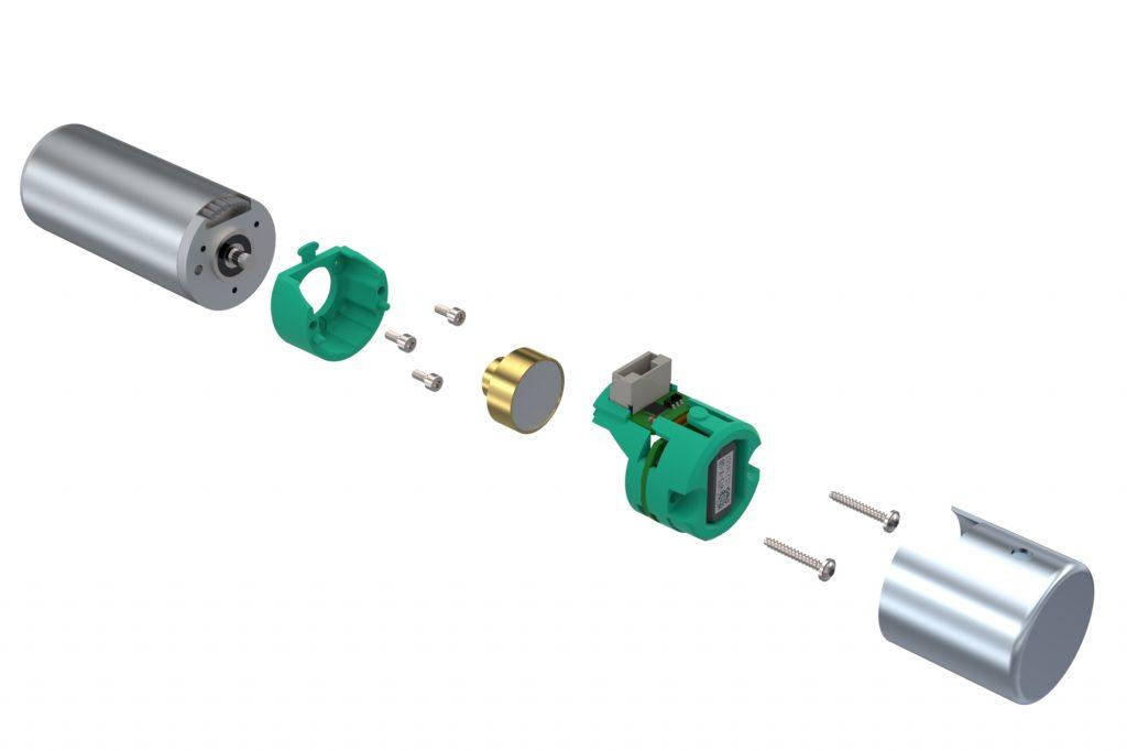 Montage-Rendering des 22mm-Kit mit Permanent-Magnet, Elektronik, EMV-Gehäuse und schraub- bzw.  klickbarer Montagetechnik.