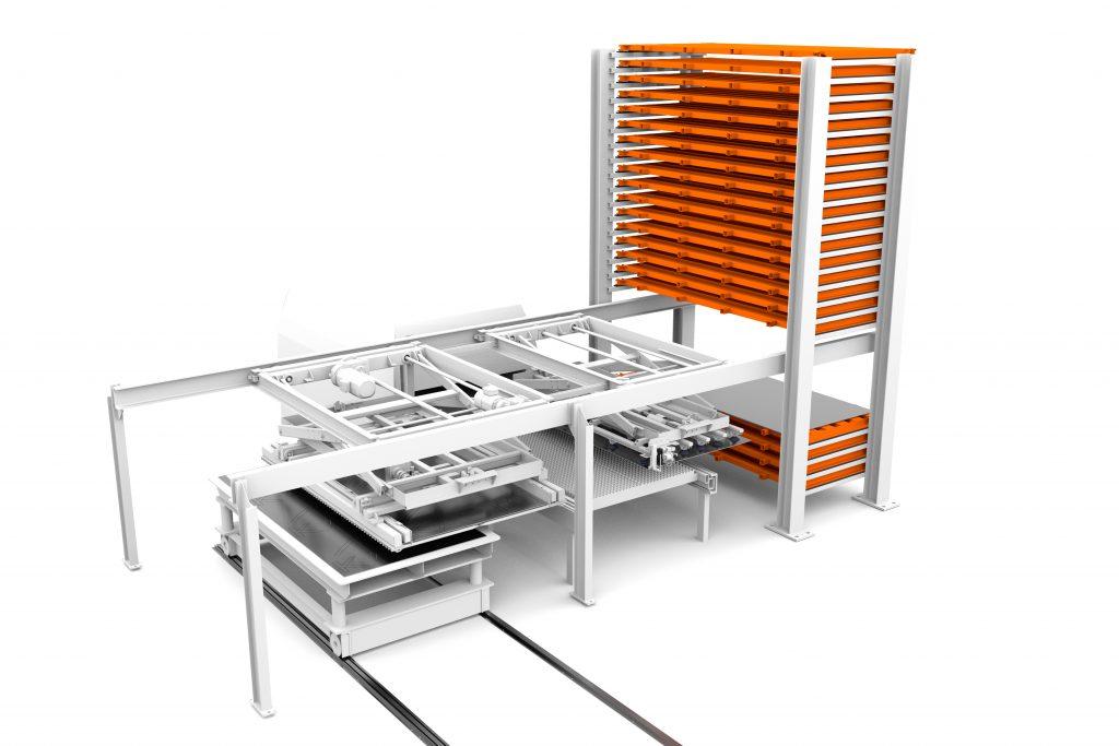 Kasto bietet einen Manipulator für die optimale Anbindung automatischer Blechlagersysteme an Laserschneidmaschinen an.