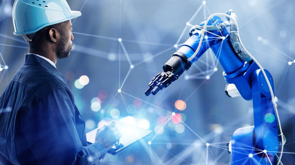 Tellerschleifringe werden in das Greifersystem eines Roboters integriert und ermöglichen die sichere Übertragung von Last, Signalen und Daten.