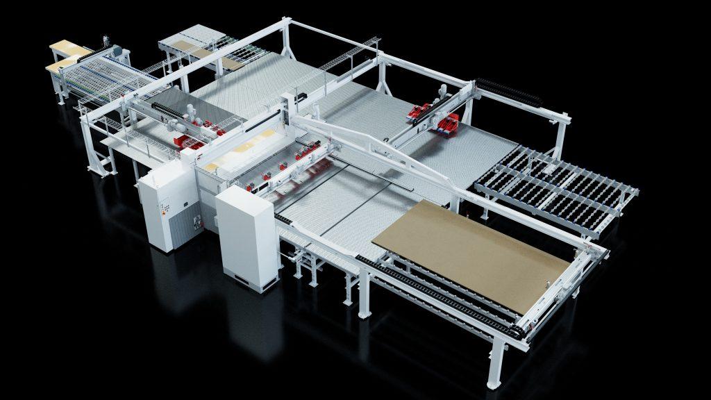 Die Plattenaufteilanlage ist als Stand-alone-Lösung ebenso denkbar wie als vollständige Integration in die Produktionslinie.