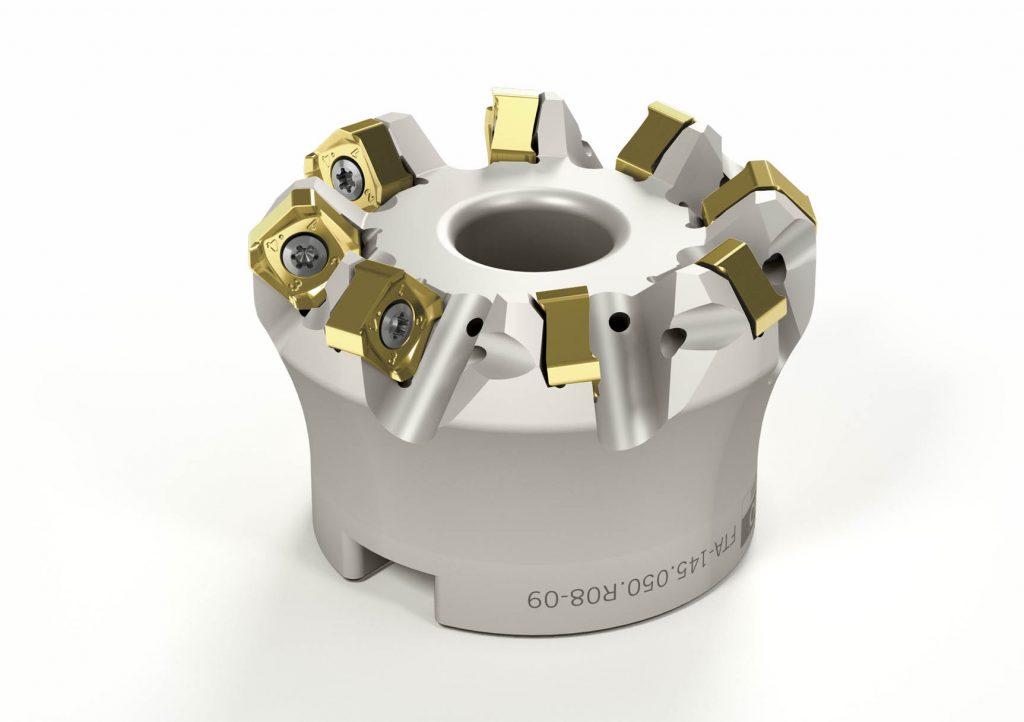 Das neue FT-Planfrässystem 09 besteht aus stabilen Trägerwerkzeugen mit mehr Zähnen und dazu passenden kleineren Wendeschneidplatten.