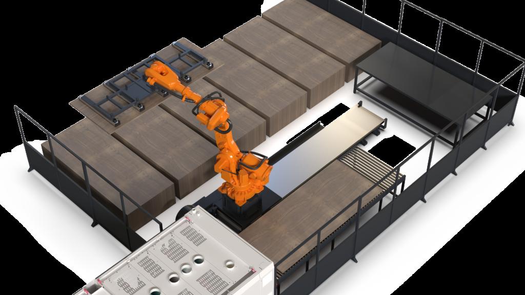 Anlage nach Abschluss der Konstruktionsarbeiten am Beispiel: Entladung der Schleifmaschine mit einem Roboter auf Linearführung zur Vergrößerung des Arbeitsbereiches.
