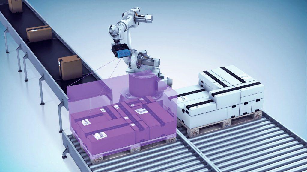 Der Visionary-T macht einen 3D-Snapshot, um die Greifkoordinaten für den Roboter zu berechnen.