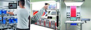 Assistenzsysteme wie Setago-Pick-to-Light, Poka Yoke und Schlauer Klaus leiten den Werker anhand visueller Hinweise durch die Montage und dienen der Qualitätssicherung.