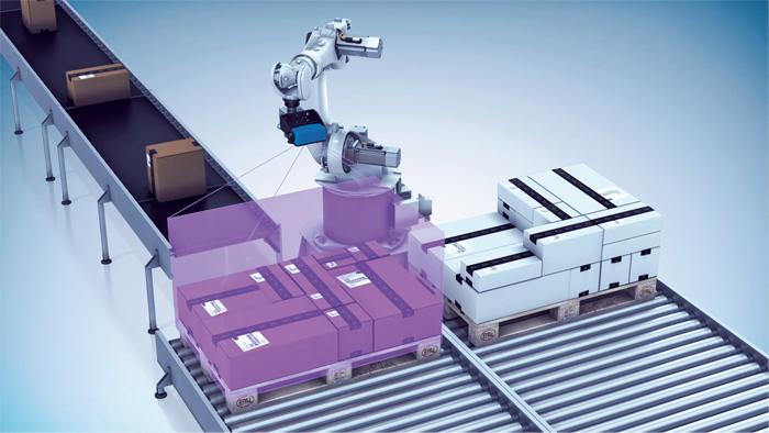 Der Visionary-T macht einen 3D Snapshot, um die Greifkoordinaten für den Roboter zu berechnen.