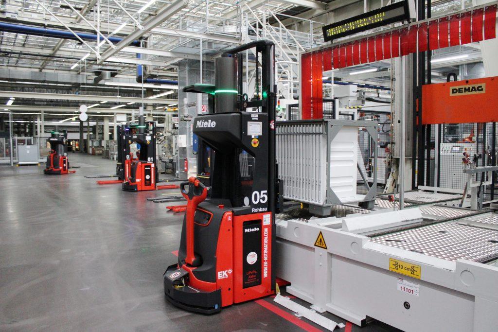 Mitwachsendes Transportkonzept: 2017 wurde die automatisierte Materialflusslösung erweitert, sodass nun neun Transportroboter bei Miele im Einsatz sind