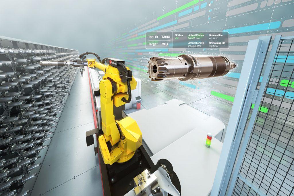 Die Manufacturing Management Software von Fastems plant und initiiert den Werkzeugwechsel anhand des Bedarfs der aktuell laufenden NC-Programme auf den Maschinen.