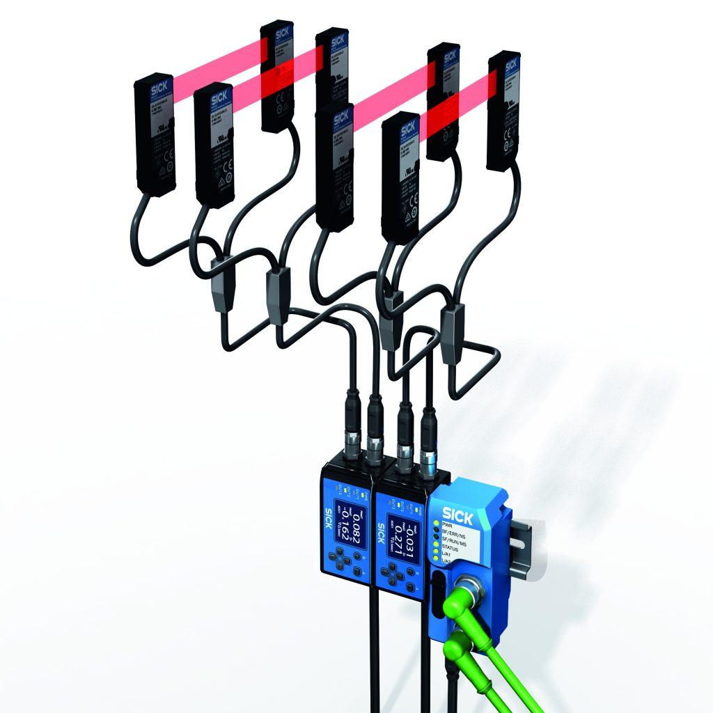 Die neuen WI180C Gateways ermöglichen es, eine Reihe von Lichtleitersensoren, Kontrastsensoren und messende Displacementsensoren von Sick über eine einzige Leitung direkt in die IO-Link- oder in die Feldbuswelt zu integrieren.