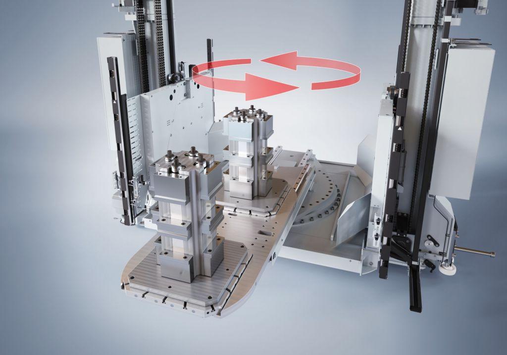 Eine Lösung, zahlreiche Vorteile: Das Regalbediengerät DMC-APC erlaubt die direkte Beladung von Werkzeugmaschinen oder auch den Einsatz als automatischer Palettenwechsler.