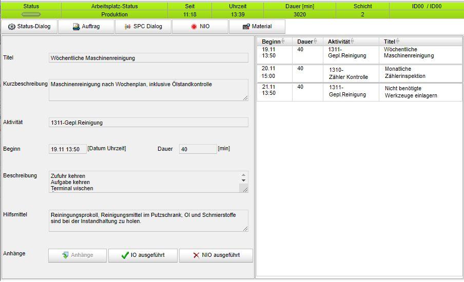 BDE-Dialog zu Instandhaltungsarbeiten
