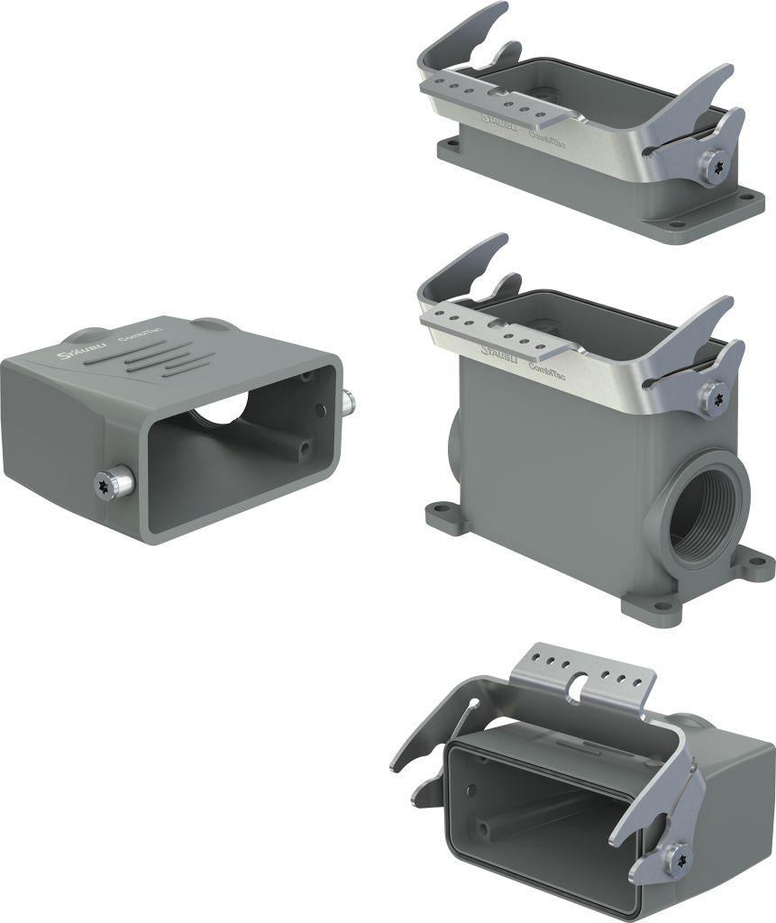Neue CombiTac DIN-Gehäuse in der Standardfarbe Grau: links Tüllengehäuse, rechts Anbau-, Sockel- und Kupplungsgehäuse