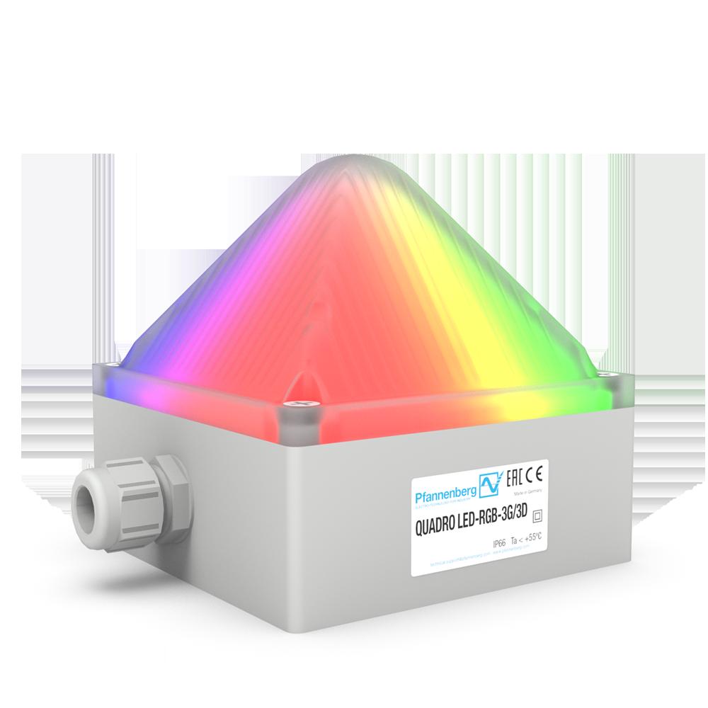 Die QUADRO LED-RGB-3G/3D wurde für den Einsatz in den Ex-Zonen 2 und 22 konzipiert und eignet sich aufgrund ihrer Mehrfarbigkeit für zahlreiche Anwendungen sowie als Substitut für herkömmliche Signalsäulen.