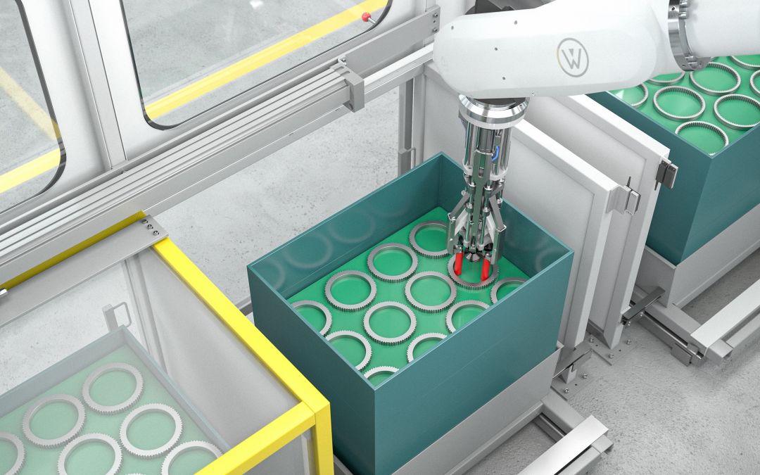 Rüstfreier Multifunktionsgreifer zum Handling gestapelter Bauteile