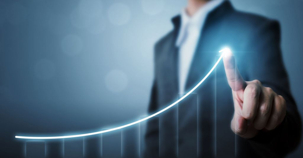 Business development to success and growing growth concept, Businessman pointing arrow graph increase chart