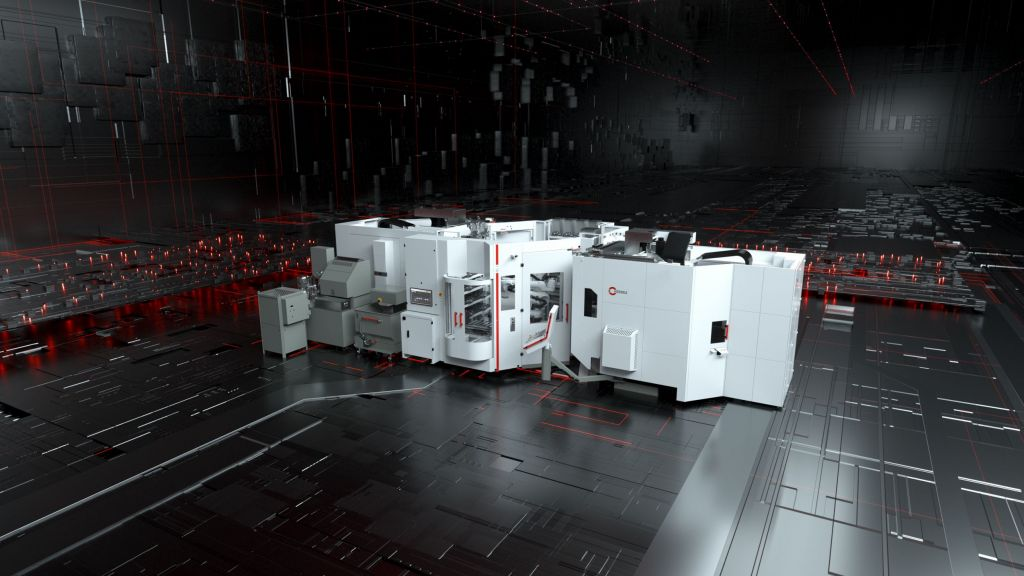 Automatisch mehr produzieren: Robotersystem RS 1 - adaptiert an zwei Hermle Bearbeitungszentren C 32 U