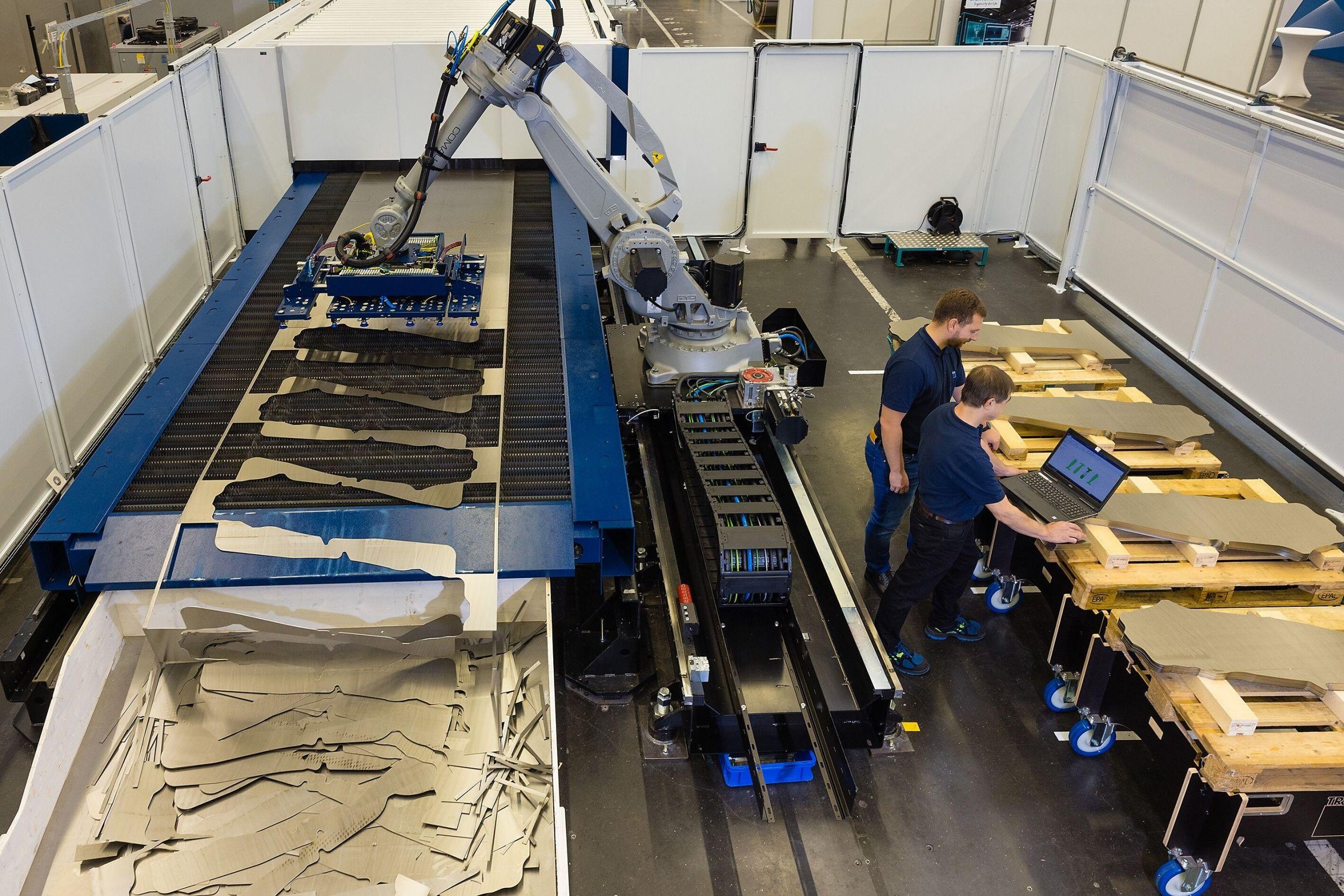 Blechverarbeitungsanlage mit Handling-Roboter